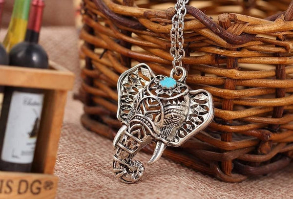 Antique Turquoise Elephant Necklace
