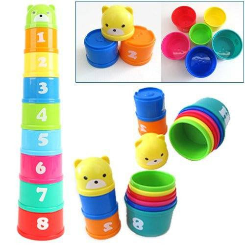 Kids Stacking Toys : Pieces stacking cups tower kids educational babyfamilyhome