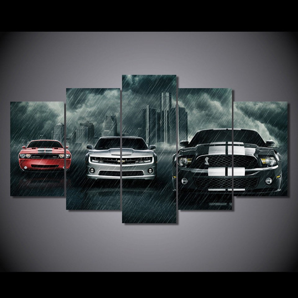3 Muscle Cars On Canvas - Limited Edition – babyfamilyhome