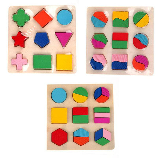 (3 Sets) of 3D Educational Geometry Toys for Kids