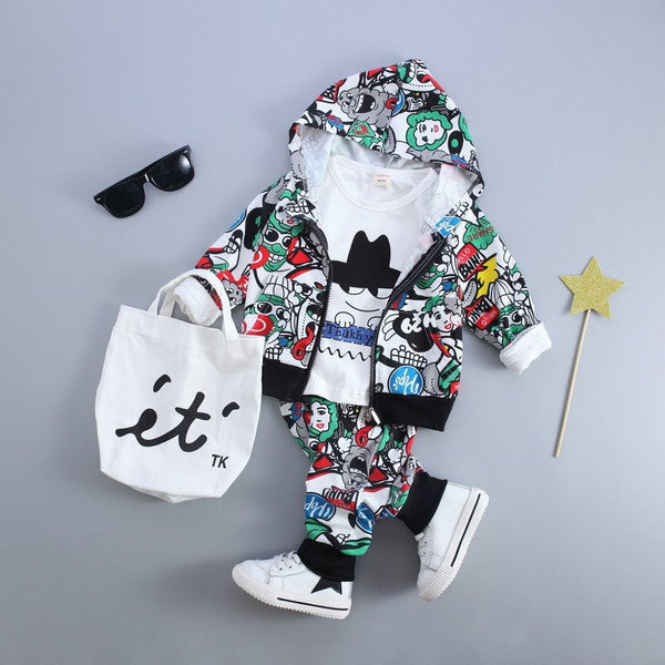 Baby Boys & Girls Clothing Sets -  Cartoon Hooded Coat + t-shirt+Pants 3Pcs