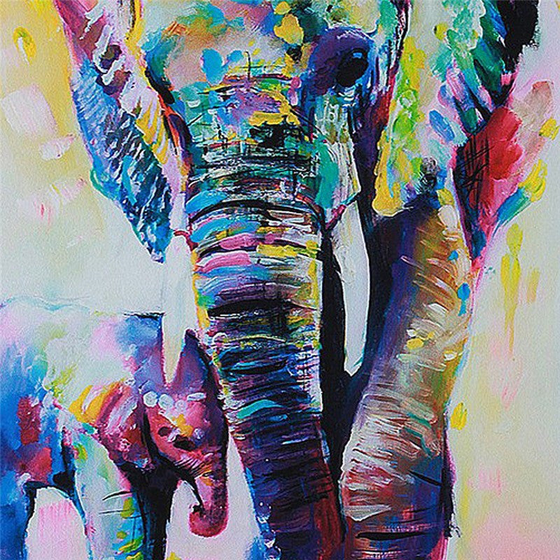 Abstract Elephant Oil Painting On Canvas Babyfamilyhome