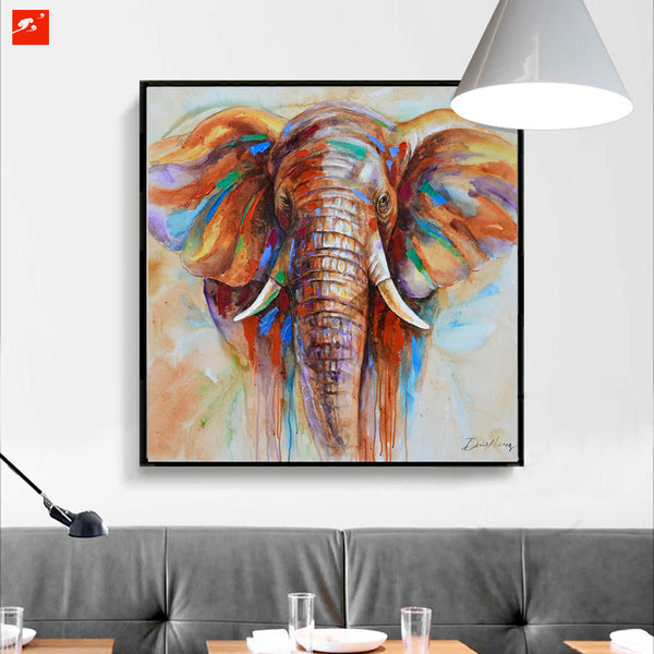 Wildlife Colorful Elephant on Canvas