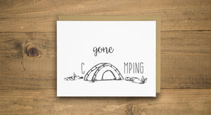Gone Camping Letterpress Card