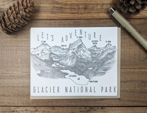'Let's Adventure' Grinnell Point Glacier National Park Letterpress Card