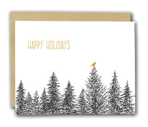 Happy Holidays Cardinal Letterpress Card