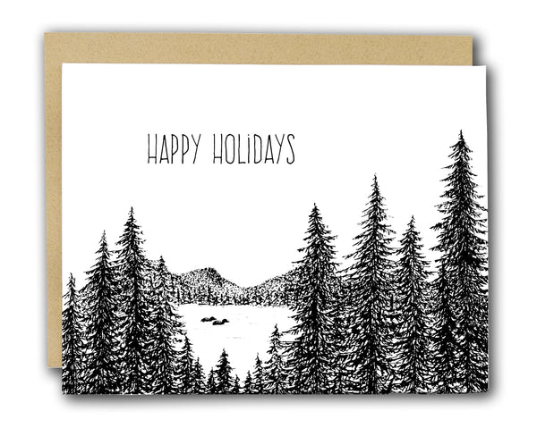 Happy Holidays Loon Letterpress Card