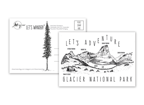 'Let's Adventure' Hidden Lake Glacier National Park Postcard
