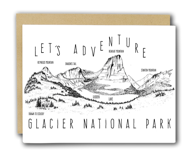 'Let's Adventure' Hidden Lake Glacier National Park Letterpress Card