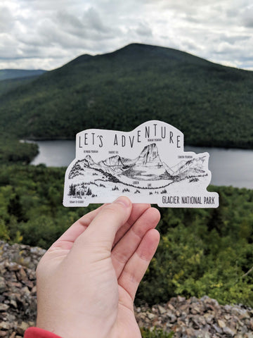 Let's Adventure Hidden Lake Glacier National Park Sticker