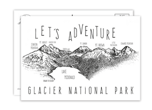 'Let's Adventure' Lake McDonald Glacier National Park Postcard