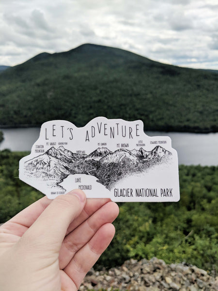 Let's Adventure Lake McDonald Glacier National Park Sticker