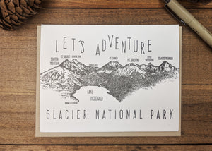'Let's Adventure' Lake McDonald Glacier National Park Letterpress Card