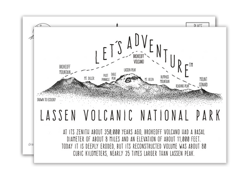 'Let's Adventure' Lassen Volcanic National Park Postcard