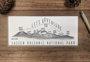 'Let's Adventure' Lassen Volcanic National Park Letterpress Card