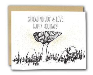 Spreading Joy and Love Happy Holidays Letterpress Card