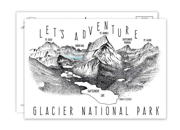 'Let's Adventure' Grinnell Point Glacier National Park Postcard