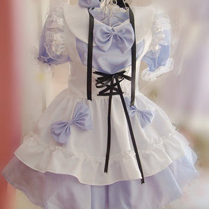 Bow Apron Maid Dress (blue and red) HF00412