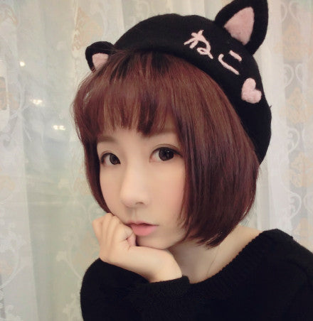 Kitty Cat Ears Beret Wool Hat (exclusive handmade) HF00157