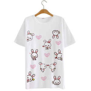 Kawaii Cartoon Heart Bunny T-shirts (various colors) HF00214