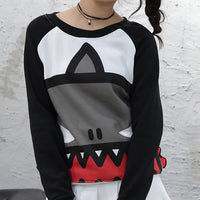 Cute Shark Head Printed Sweater HF00292
