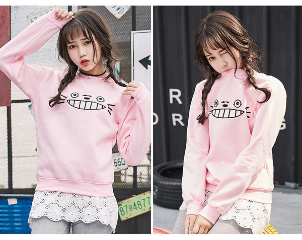 [Totoro] Face Embroidered Sweater HF00285