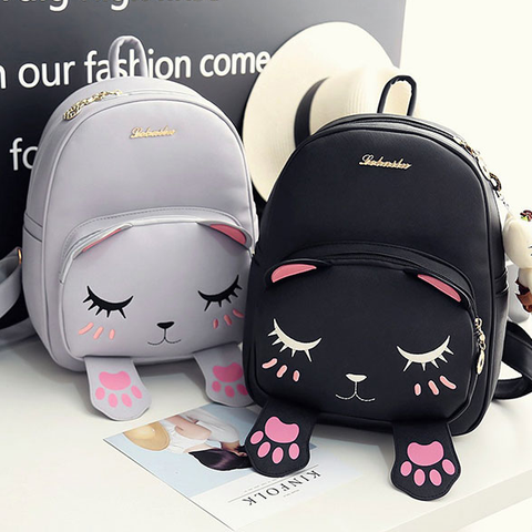 Cute Kitty Cat School Backpack Bag (gray and black) HF00086