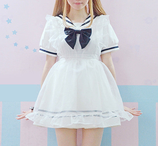 Flounced Strap Transparent Maid Skirt HF00129