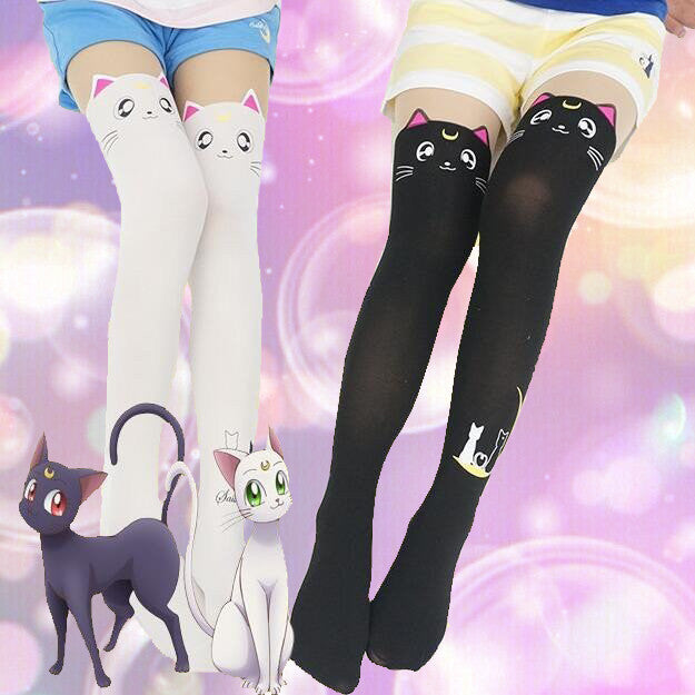 91195bfb57caf [Sailor Moon] Luna and Artemis Tights (black and white) HF00834