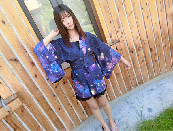 Sky Flower Kimono Bathrobe Haori (dark blue) HF00638