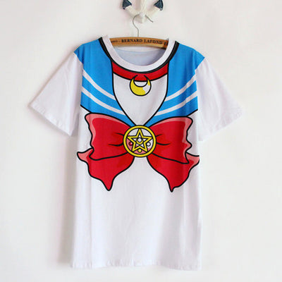 [Sailor Moon] Bow Print T-shirt (blue and pink) HF00374