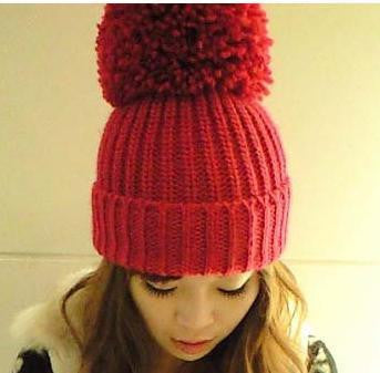 Oversized Plush Winter Ball Beanie Wool Hat (various colors) HF00554
