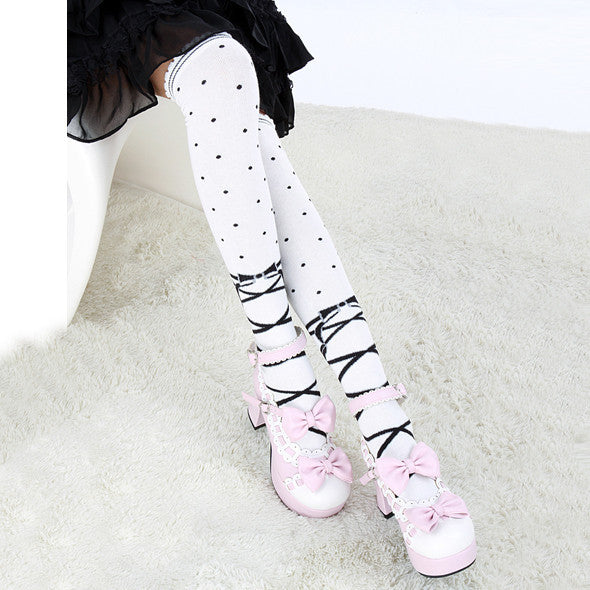 Dotted Knee Length Cotton Tights (black and white) HF00335