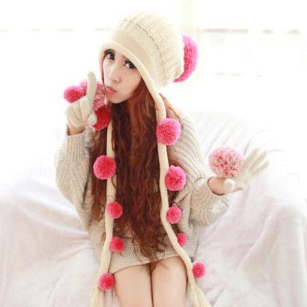 Plush Balls Knitting Wool Beanie Winter Hat HF00694