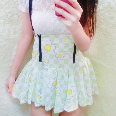 Flower High Waist Suspender Skirt HF00151