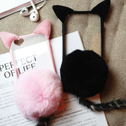 Kitty Ear and Tail iPhone Phone Case (pink and black) HF00586