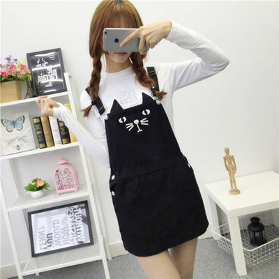 Cute Kitty Cat Printed Adjustable Strap Suspender Dress HF00458