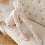 Cute Small Bows Thin Tights (white and black) HF00428