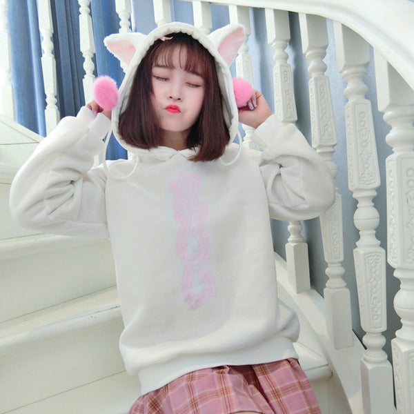 Cute Kitty Cat Ears Hooded Long-sleeved Sweater (white and black) HF00273