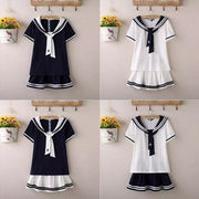 College Sailor Suit School Uniforms T-shirt and Pleated Skirt Set HF00377
