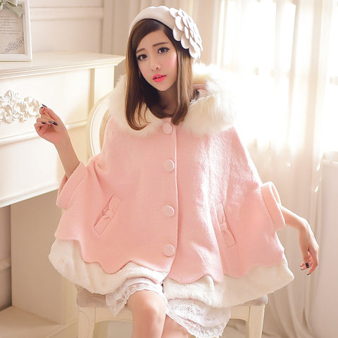 Sweet Princess Cashmere Coat (pink and white) HF00584