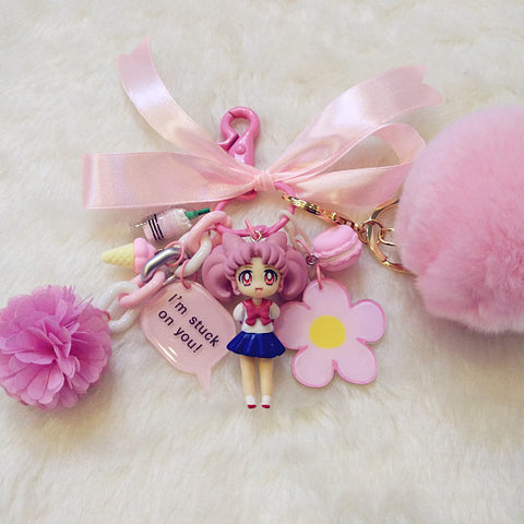 "[Sailor Moon] Cute Chibiusa Flower Plush Ball ""I'm stuck on you"" Keychain HF00258"