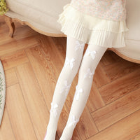Cute Small Bows Thick Tights (white and black) HF00415