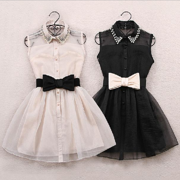 Doll Collar Lace Waist Bow Sleeveless Dress HF00484