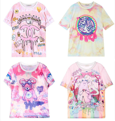 Japanese Harajuku Cute Cartoon Printed T-shirts (various styles) HF00304
