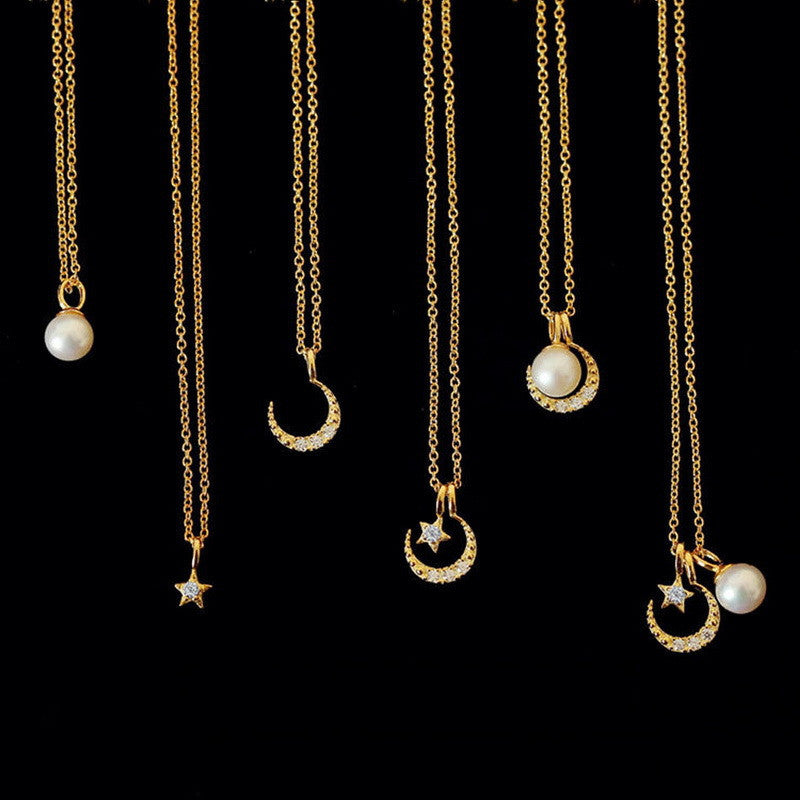 Star Moon and Pearl Silver Necklace HF00380