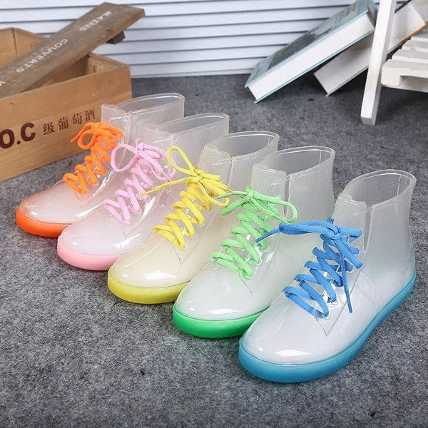 Korean Style Transparent Rain Boots (various colors) HF00329