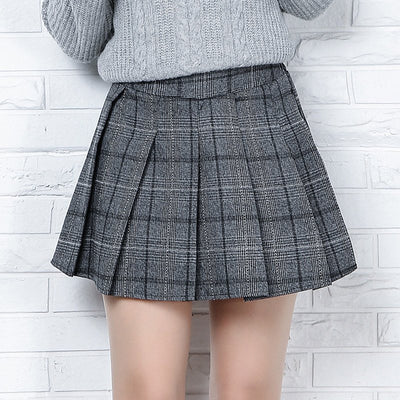 Japanese Grey Wool Pleated Skirt HF00921
