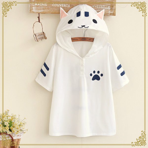 Cute Kitty Cat Pattern Hooded Short-sleeve T-shirt (white and gray) HF00288