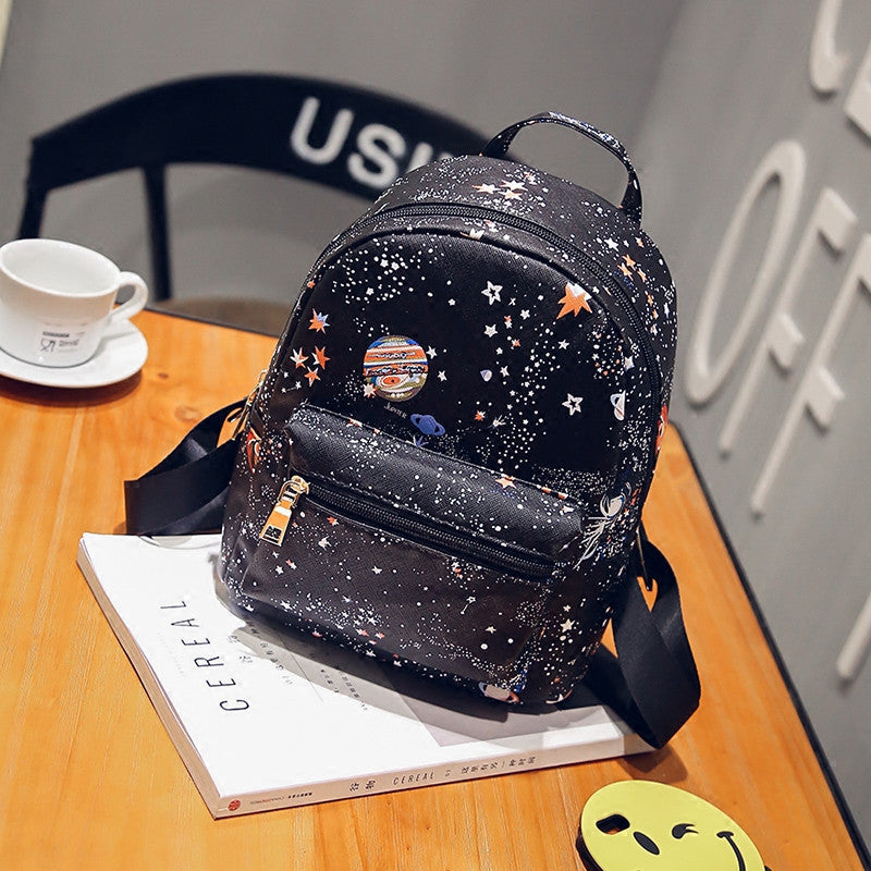 Korean Style Space Stars Pattern Backpack Bag HF00492